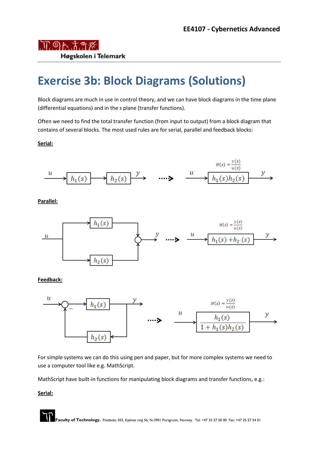 Exercise 3b: Block Diagrams (Solutions)Studylib