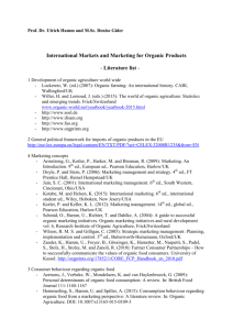 International Markets and Marketing for Organic Products
