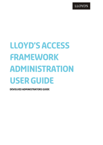 Lloyd's Access Framework Administration User Guide