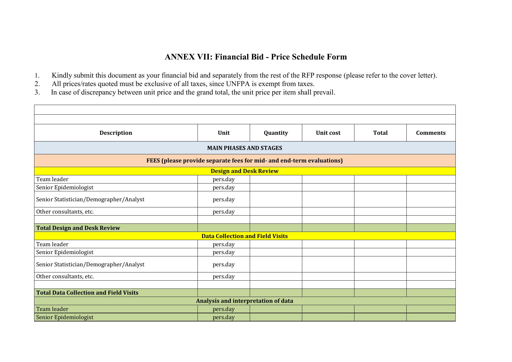 ANNEX VII: Financial Bid - Price Schedule Form