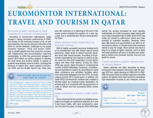 EUROMONITOR INTERNATIONAl: TRAvEl AND TOURISM IN qATAR