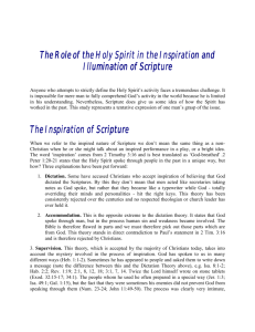 The Role of the Holy Spirit in the Inspiration and Illumination of