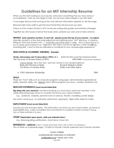 Guidelines for an MIT Internship Resume