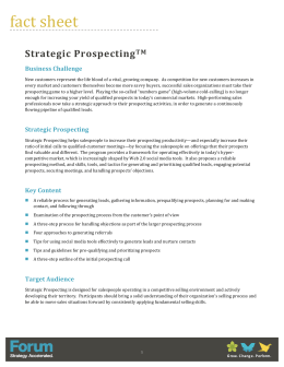 Strategic Prospecting