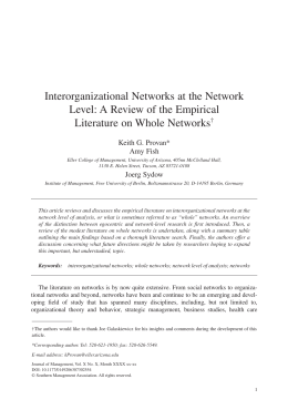 Interorganizational Networks at the Network Level
