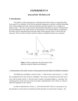 Lab for October 28: the ballistic pendulum