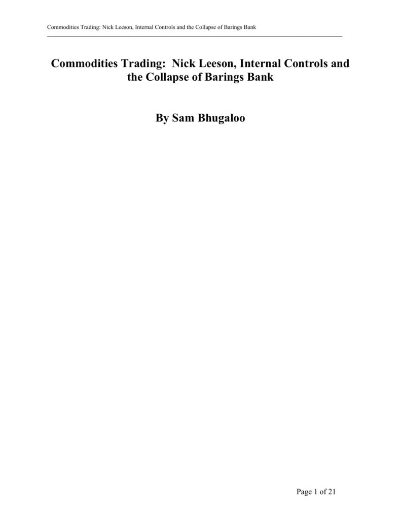 barings bank internal control