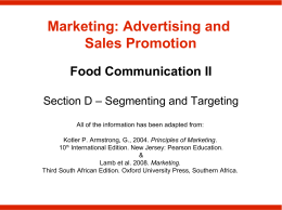 Marketing: Advertising and Sales Promotion