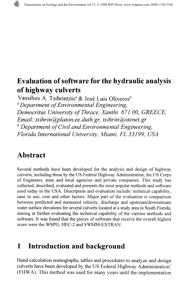Evaluation of software for the hydraulic analysis of highway culverts