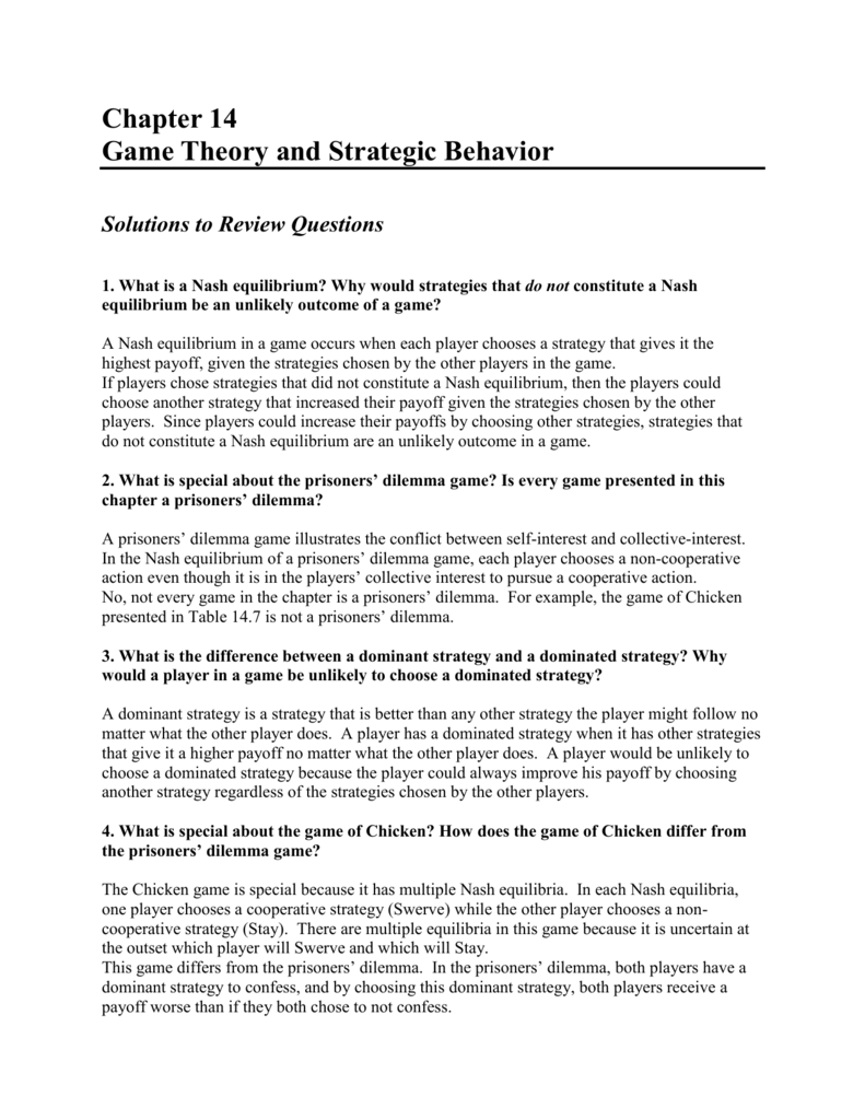 Chapter 14 Game Theory And Strategic
