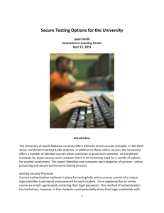 Secure Testing Options for the University