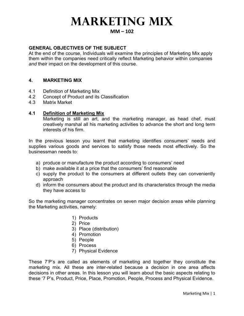 marketing mix pdf