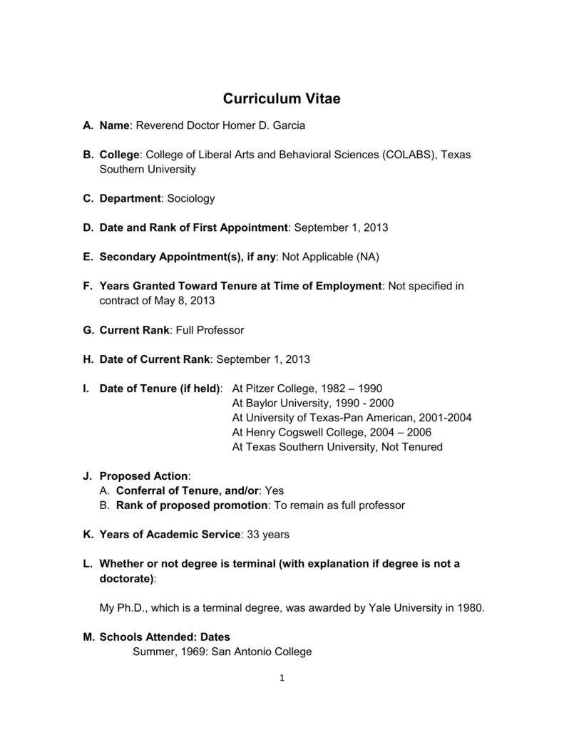 Curriculum Vitae - Texas Southern University