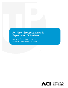ACI User Group Leadership Expectation Guidelines