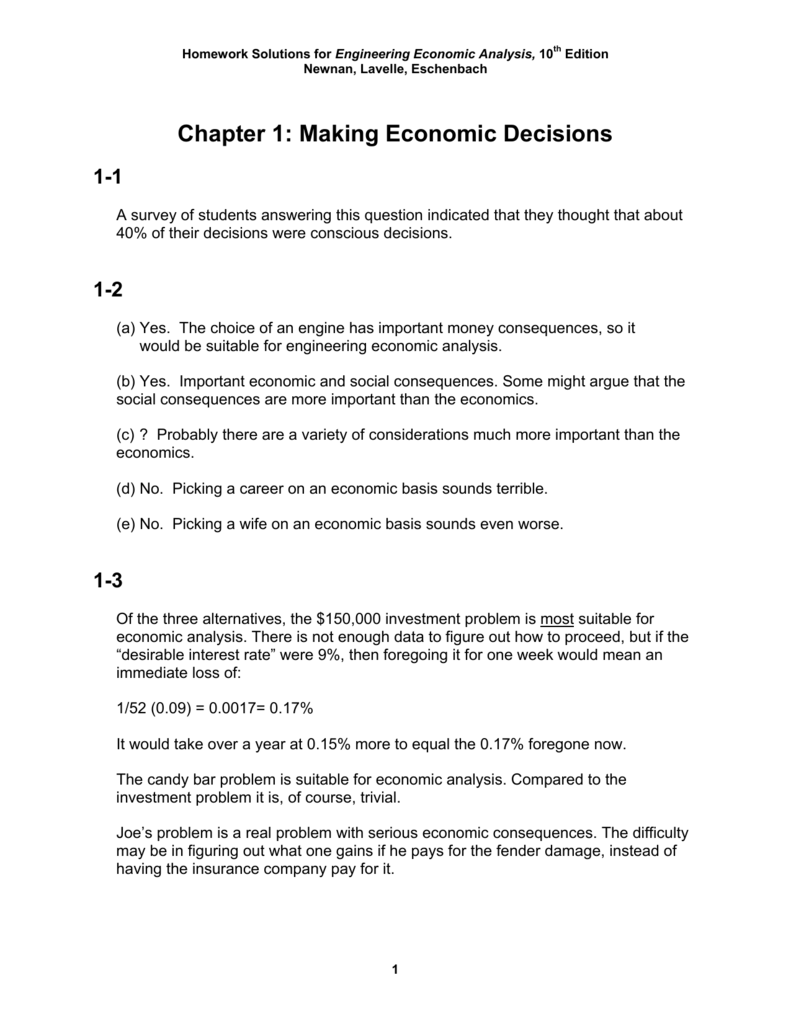 Chapter 1 Making Economic Decisions