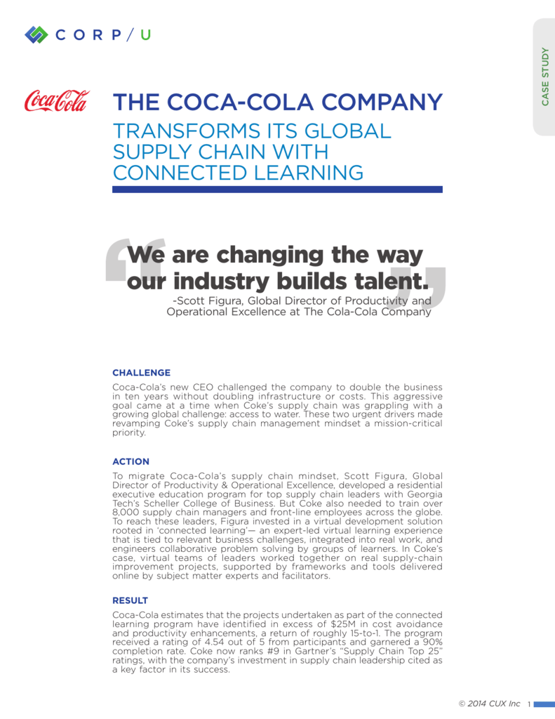 coca cola company supply chain