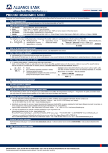 product disclosure sheet - Alliance Bank Malaysia Berhad