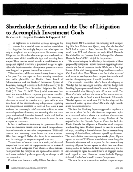 Shareholder Activism and the Use of Litigation to Accomplish