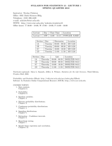 SYLLABUS FOR STATISTICS 13 - LECTURE 1 SPRING QUARTER