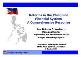Reforms in the Philippine Financial System: A Comprehensive
