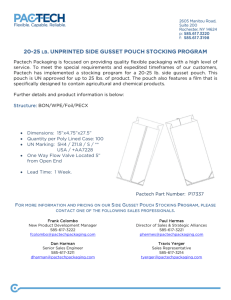 20-25 lb. unprinted side gusset pouch stocking program