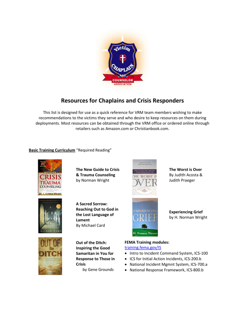 Recommended Resource List for Responders