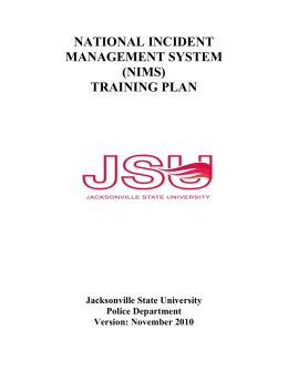 national incident management system (nims) training plan