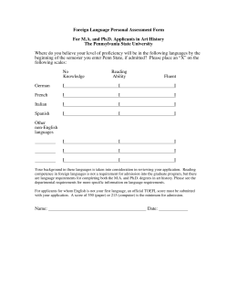 Foreign Language Personal Assessment Form