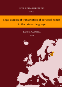 Legal aspects of transcription of personal names in the Latvian