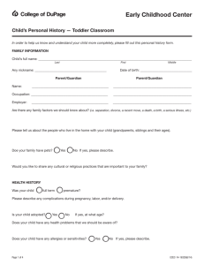 Child Personal History Form