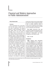 Classical and Modern Approaches to Public Administration
