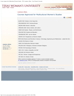 Courses Approved for Multicultural Women's Studies