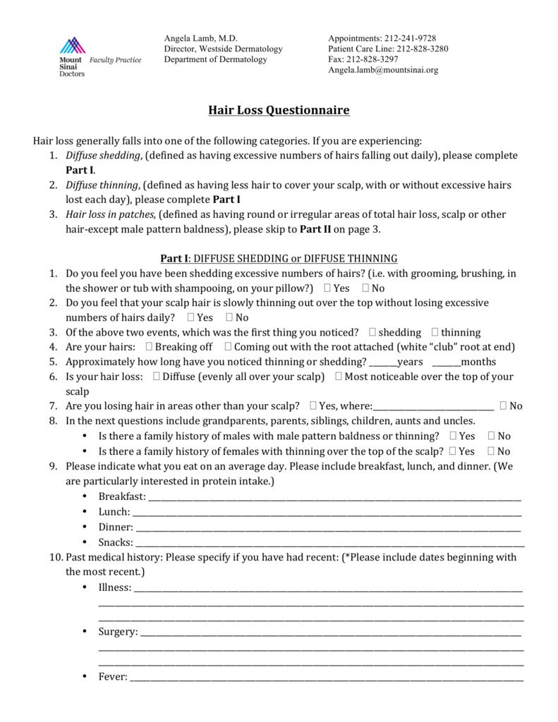 Hair Loss Questionnaire