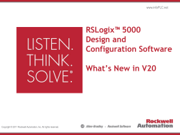 RSLogix 5000 V20 Preview Expanded Scalability