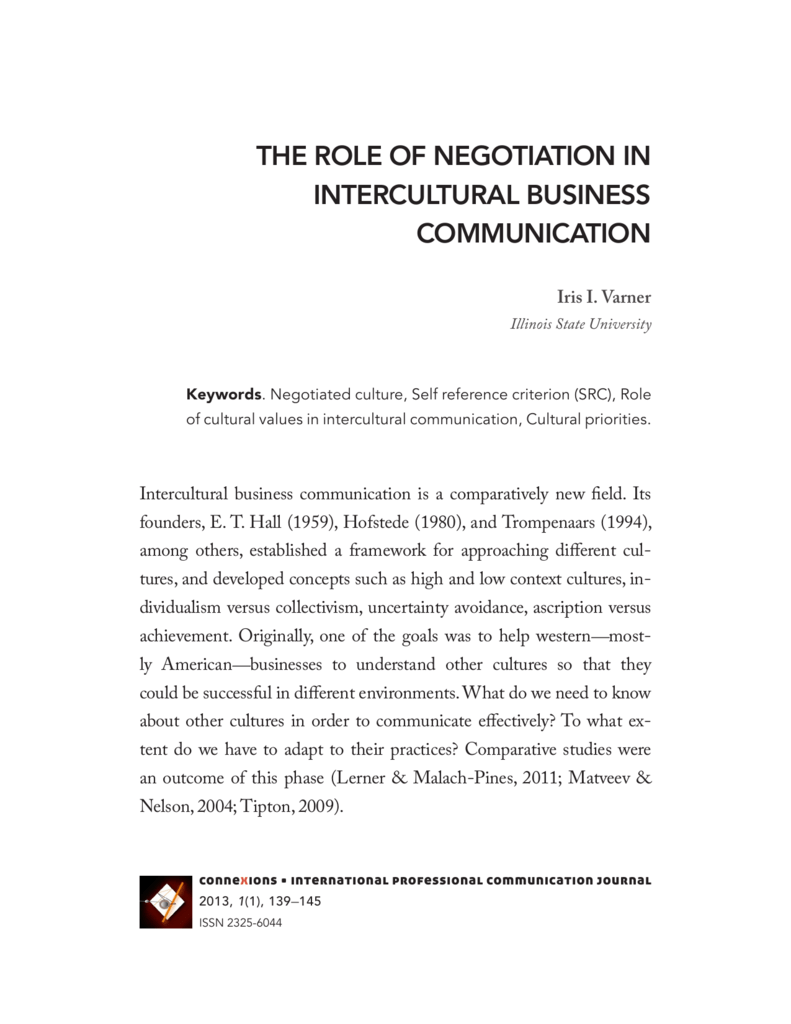 the role of negotiation in intercultural business communication