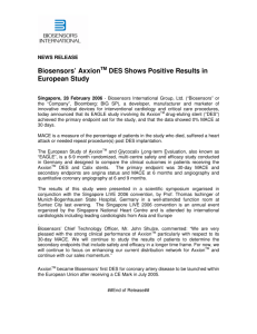 Biosensors' Axxion DES Shows Positive Results in European Study
