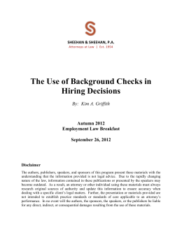 09/26/12 S&S The Use of Background Checks in Hiring Decisions