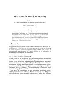 Middleware for Pervasive Computing