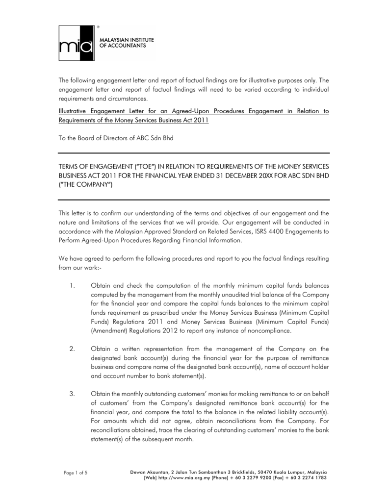 Illustrative Engagement Letter And Report Of Factual Findings For