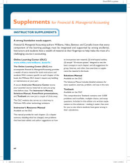 Supplements for Financial & Managerial Accounting