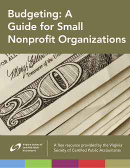 Budgeting: A Guide for Small Nonprofit Organizations