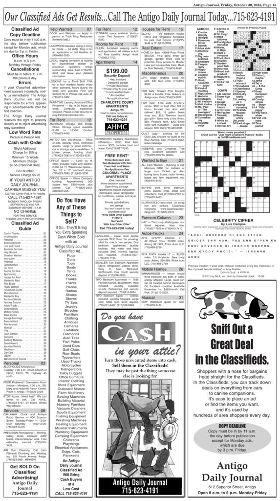 Classifieds - Antigo Daily Journal