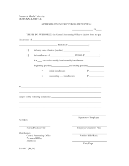 Authorization for Payroll Deduction Form