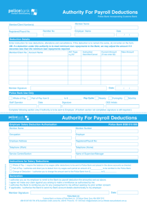 Authority For Payroll Deductions Authority For Payroll