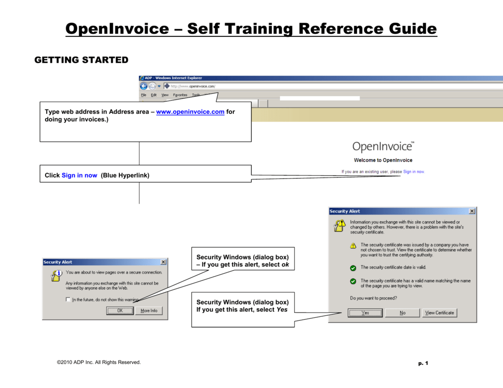 OpenInvoice Self Training Reference Guide - Adp open invoice