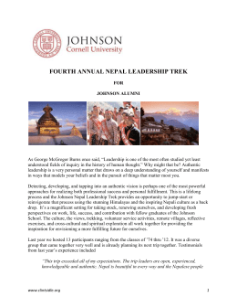 program for the Leadership Trek to Nepal