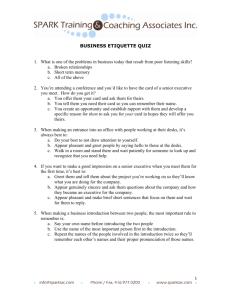 Business etiquette quiz - Spark Training & Coaching Associates