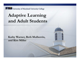 Adaptive Learning and Adult Students