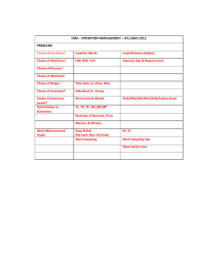 CMA – OPERATION MANAGEMENT – SYLLABUS 2012