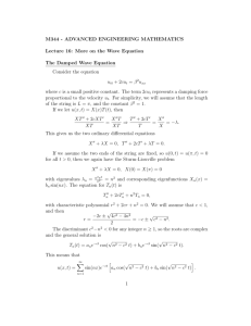 Damped wave equation, D'Alembert's solution